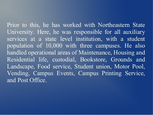 Randall Shelton Is The Director Of Auxiliary Services At Northeastern