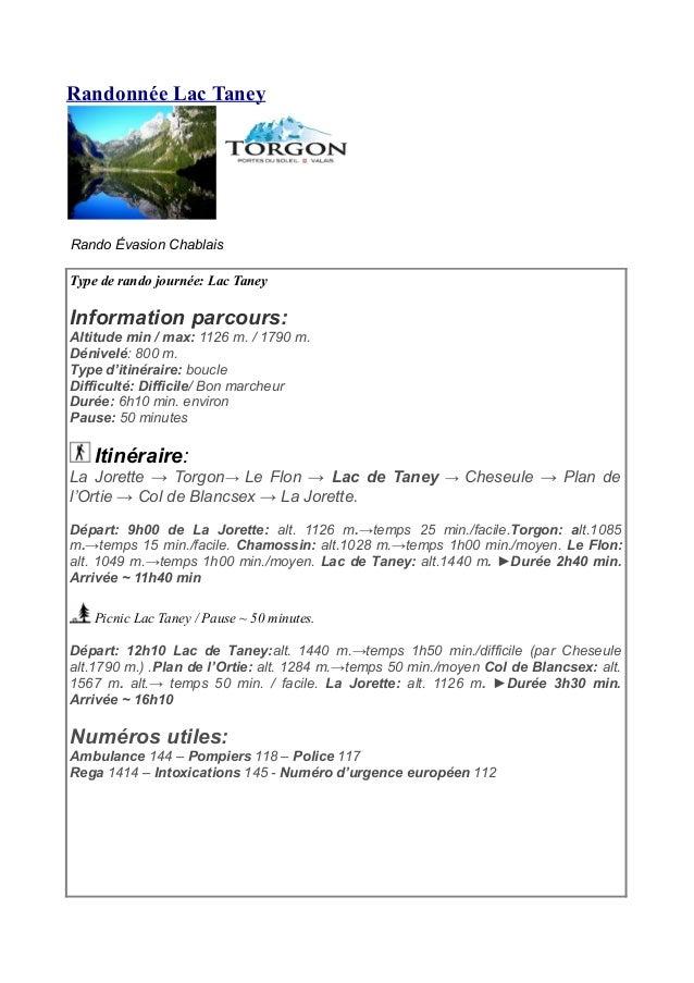 Randonnée Lac Taney Rando Évasion Chablais Type de rando journée: Lac Taney Information parcours: Altitude min / max: 1126...