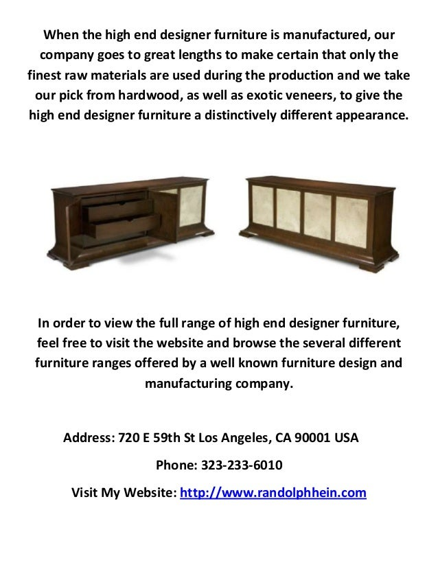 Randolph hein designer furniture store los angeles for Designer furniture warehouse