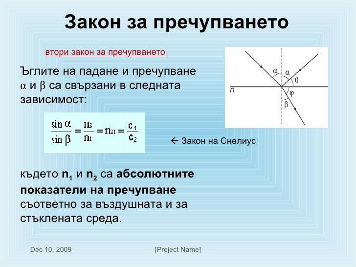 Закон за пречупването  втори закон за пречупването Ъглите на падане и пречупване  α  и  β  са свързани в следната зависимо...