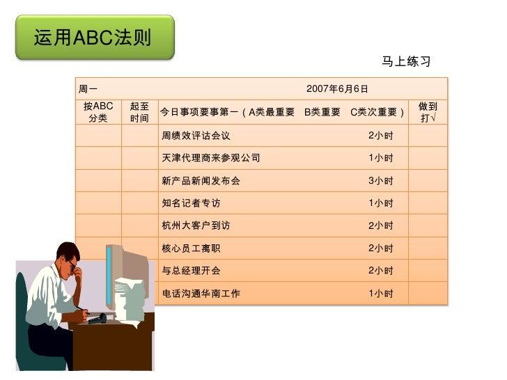 运用ABC法则                                             马上练习      周一                          2007年6月6日      按ABC   起至        ...