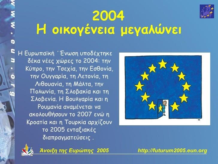 2004       Η οικογένεια μεγαλώνει Η Ευρωπαϊκή ΄Ένωση υποδέχτηκε    δέκα νέες χώρες το 2004: την   Κύπρο, την Τσεχία, την Ε...