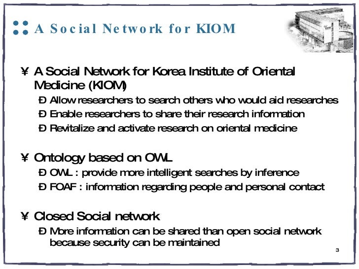 A Social Network for KIOM <ul><li>A Social Network for Korea Institute of Oriental Medicine (KIOM) </li></ul><ul><ul><li>A...