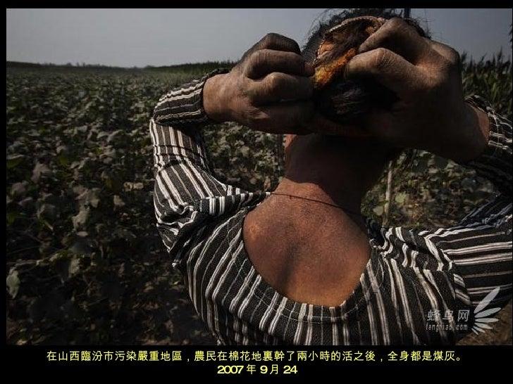 在山西臨汾市污染嚴重地區,農民在棉花地裏幹了兩小時的活之後,全身都是煤灰。 2007 年 9 月 24