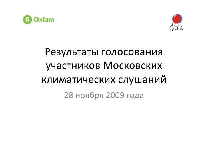 Результаты голосования участников Московских климатических слушаний<br />28 ноября 2009 года<br />