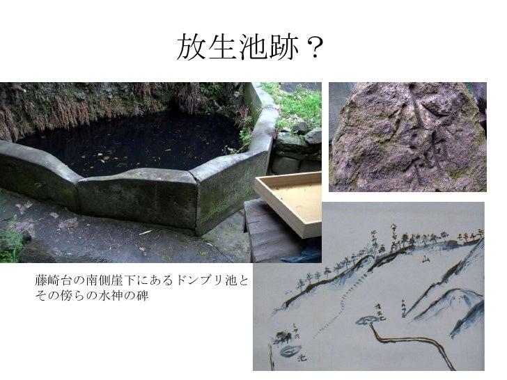 放生池跡? 藤崎台の南側崖下にあるドンブリ池と その傍らの水神の碑