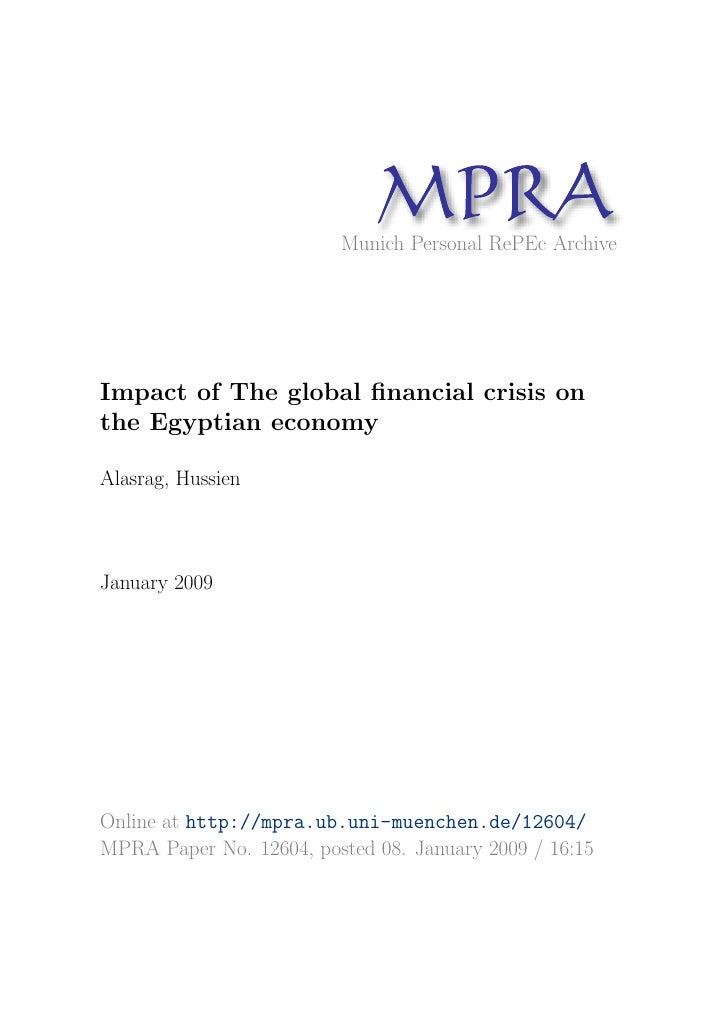 MP A                                R                          Munich Personal RePEc Archive     Impact of The global finan...