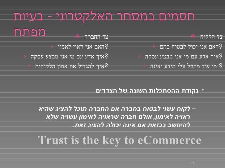 <ul><li>צד הלקוח </li></ul><ul><ul><li>האם אני יכול לבטוח בהם ? </li></ul></ul><ul><ul><li>איך אדע עם מי אני מבצע עסקה ? <...