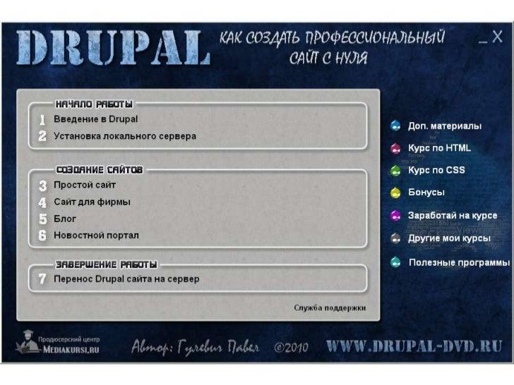 """Меню диска Drupal """"Как создать профессиональный сайт с нуля"""""""