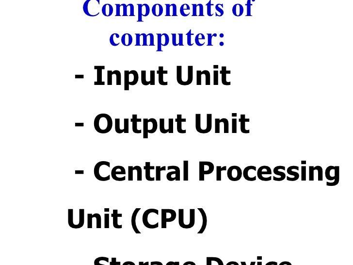 Components of computer: <ul><li>- Input Unit </li></ul><ul><ul><li>- Output Unit </li></ul></ul><ul><ul><li>- Central Proc...
