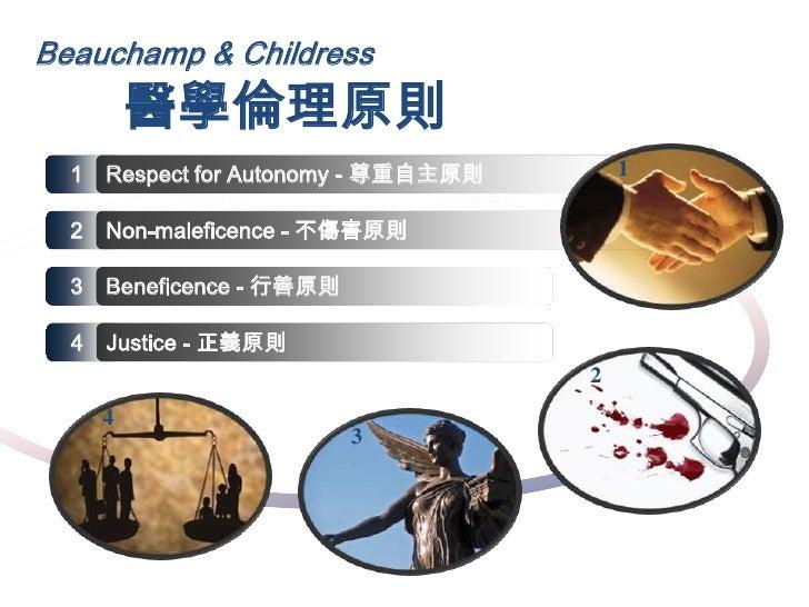 Beauchamp & Childress<br />醫學倫理原則<br />1  <br />1  <br />Respect for Autonomy - 尊重自主原則<br />2  <br />Non-maleficence - 不傷害...
