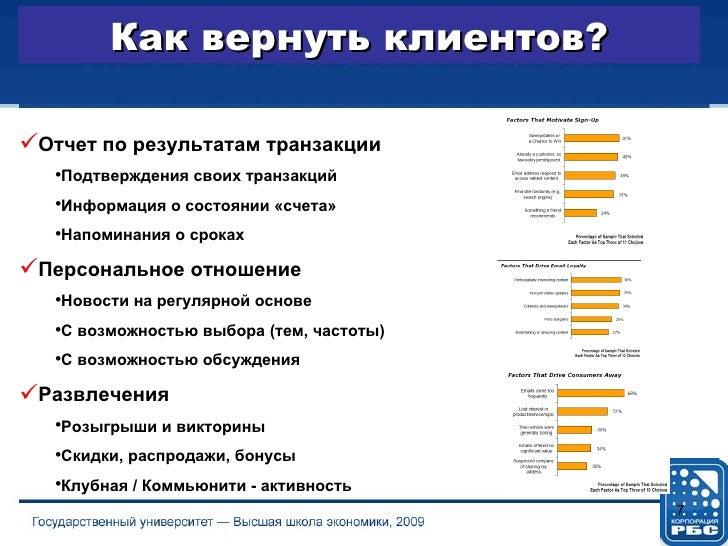 Как вернуть клиентов? <ul><li>Отчет по результатам транзакции </li></ul><ul><ul><li>Подтверждения своих транзакций </li></...
