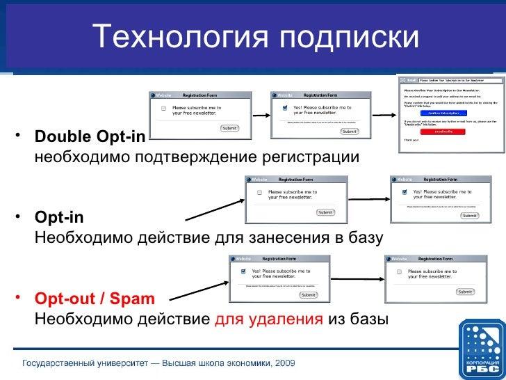 Технология подписки <ul><li>Double Opt-in   необходимо подтверждение регистрации </li></ul><ul><li>Opt-in  Необходимо дейс...