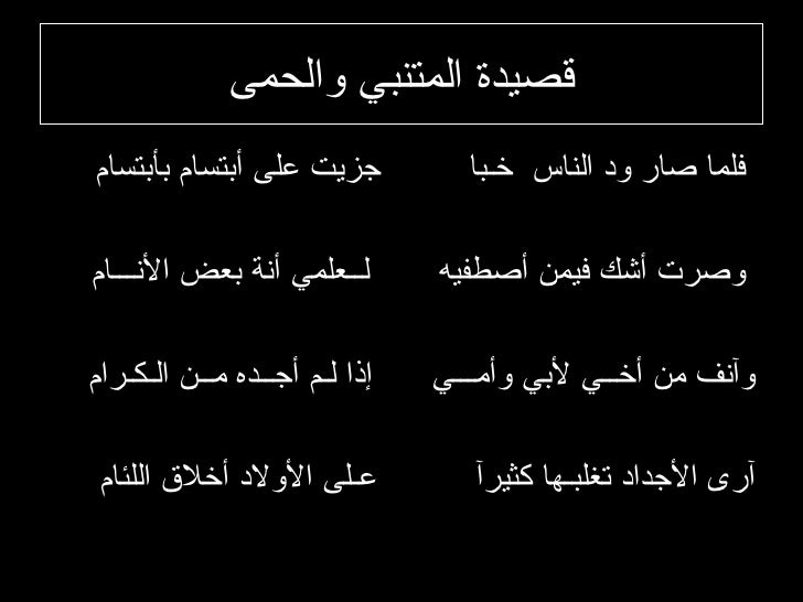 أجمل قصائد وأشعار الشاعر المتنبي