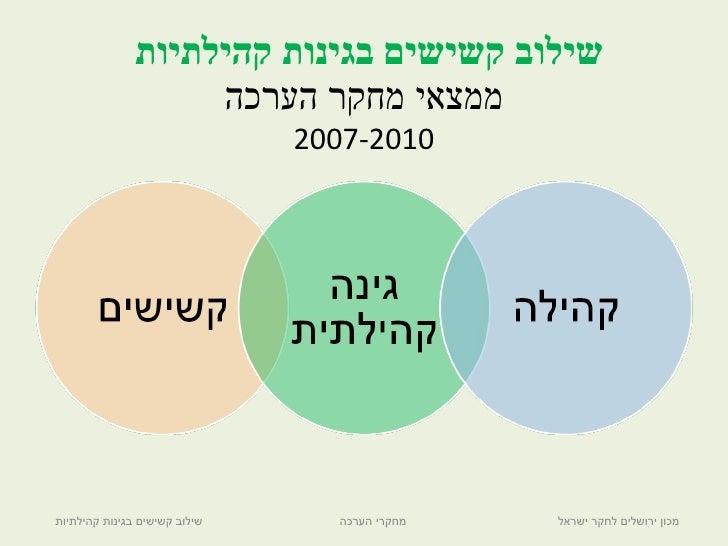 שילוב קשישים בגינות קהילתיות  ממצאי מחקר הערכה 2007-2010 שילוב קשישים בגינות קהילתיות  מחקרי הערכה מכון ירושלים לחקר ישראל
