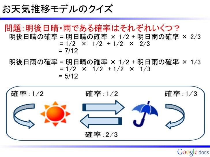 お天気推移モデルのクイズ問題:明後日晴・雨である確率はそれぞれいくつ? 明後日晴の確率 = 明日晴の確率 × 1/2 + 明日雨の確率 × 2/3            = 1/2 × 1/2 + 1/2 × 2/3            =...