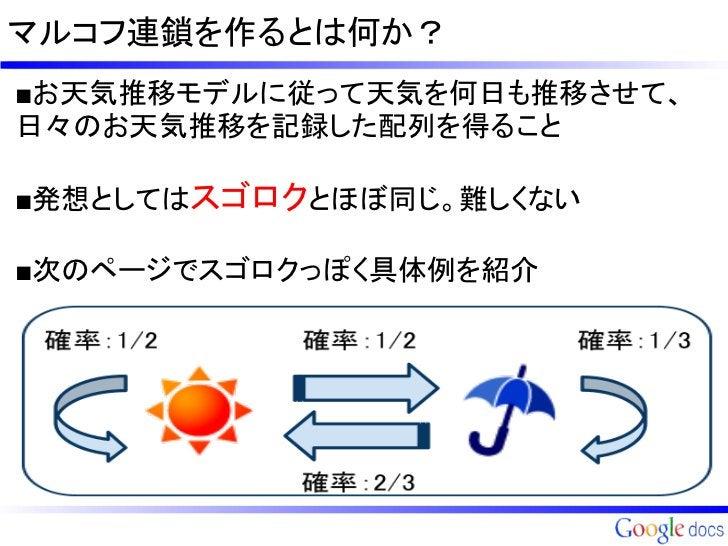 マルコフ連鎖を作るとは何か?■お天気推移モデルに従って天気を何日も推移させて、日々のお天気推移を記録した配列を得ること■発想としてはスゴロクとほぼ同じ。難しくない■次のページでスゴロクっぽく具体例を紹介