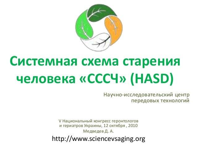 Системная схема старения человека «СССЧ» (HASD) Научно-исследовательский центр передовых технологий V Национальный конгрес...