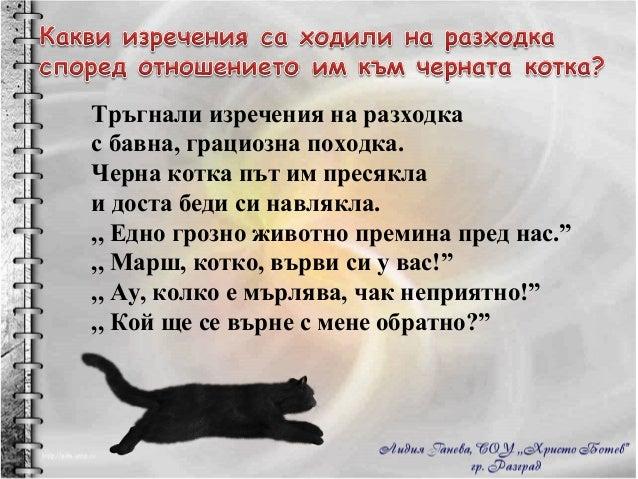 Тръгнали изречения на разходка с бавна, грациозна походка. Черна котка път им пресякла и доста беди си навлякла. ,, Едно г...