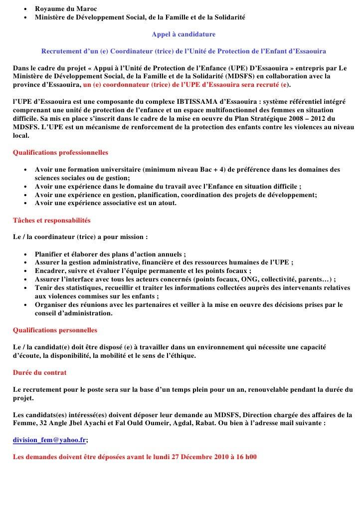 •   Royaume du Maroc   •   Ministère de Développement Social, de la Famille et de la Solidarité                           ...