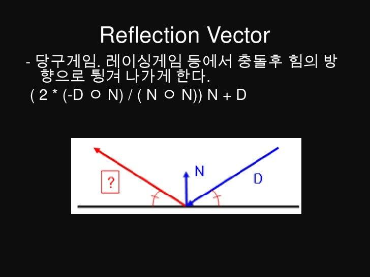 Reflection Vector<br />-당구게임. 레이싱게임 등에서 충돌후 힘의 방향으로 튕겨 나가게 한다.<br />( 2 * (-D ㅇN) / ( N ㅇN)) N + D<br />