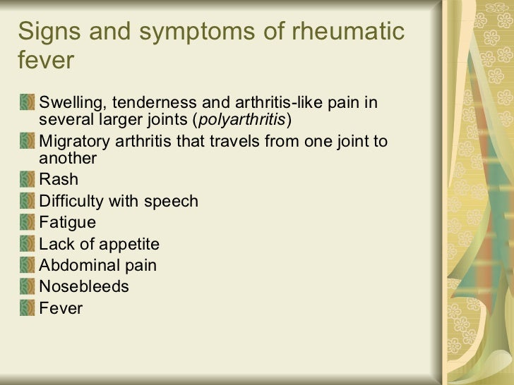 rheumatic fever causes symptoms and treatment Learn more about the causes, symptoms, and treatment methods strep throat in adults: causes, symptoms the symptoms of acute rheumatic fever develop two to.