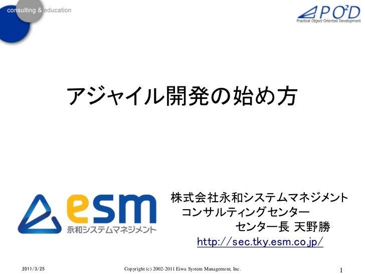 アジャイル開発の始め方                                  株式会社永和システムマネジメント                                   コンサルティングセンター              ...
