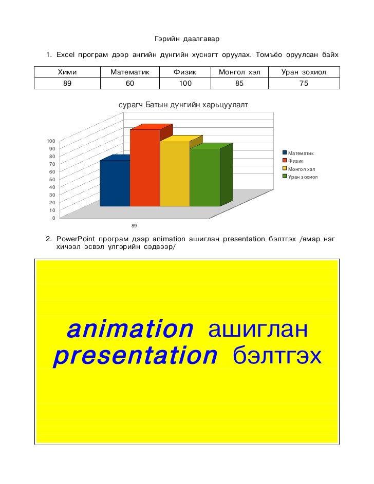 Гэрийн даалгавар1. Excel програм дээр ангийн дүнгийн хүснэгт оруулах. Томъёо оруулсан байх      Хими      Математик       ...