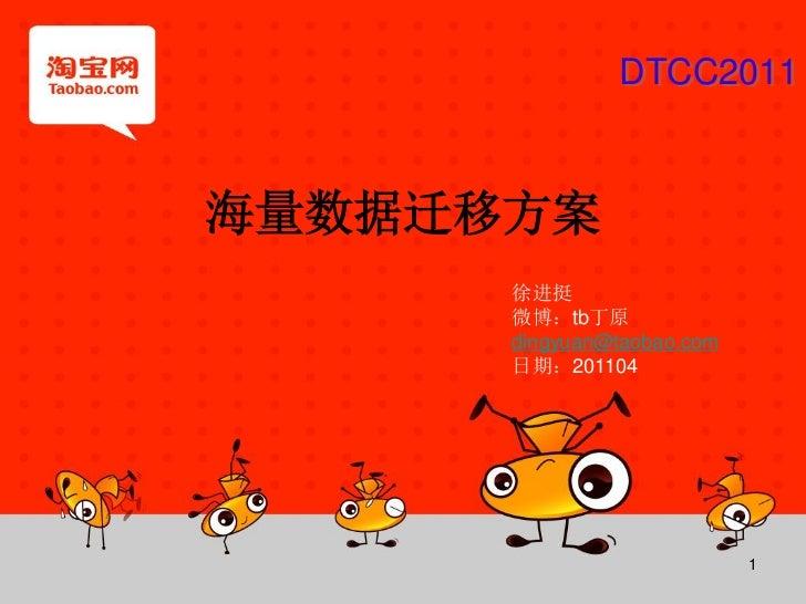 DTCC2011海量数据迁移方案      徐进挺      微博:tb丁原      dingyuan@taobao.com      日期:201104                            1