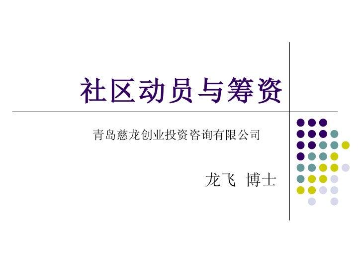 社区动员与筹资 青岛慈龙创业投资咨询有限公司   龙飞 博士