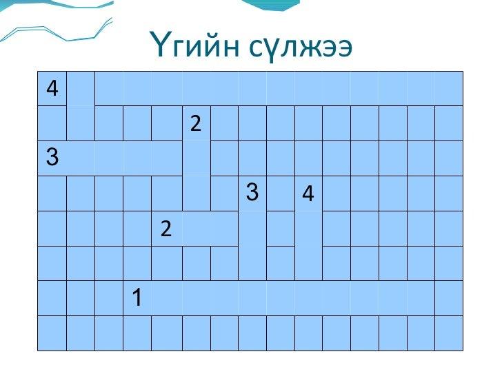 Үгийн сүлжээ 4 2 3 3 4 2 1