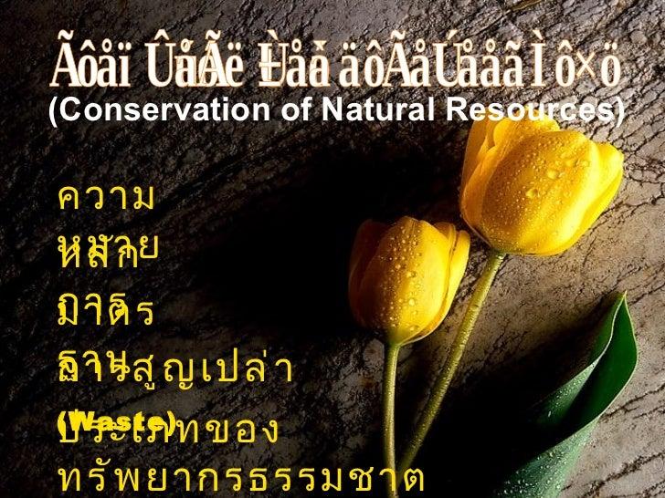 (Conservation of Natural Resources)ความหมายหลั กการมาตรฐาน ญ เปล่ าการสูประเภทของ(Waste)ทรั พ ยากรธรรมชาต