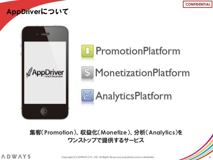CONFIDENTIALAppDriverについて    集客(Promotion)、収益化(Monetize)、分析(Analytics)を               ワンストップで提供するサービス            Copyright...