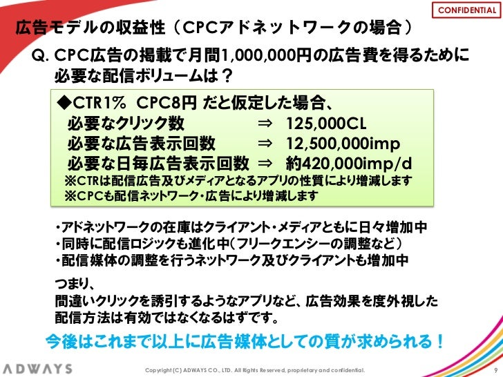 CONFIDENTIAL広告モデルの収益性(CPCアドネットワークの場合)Q. CPC広告の掲載で月間1,000,000円の広告費を得るために   必要な配信ボリュームは?  ◆CTR1% CPC8円 だと仮定した場合、   必要なクリック数 ...