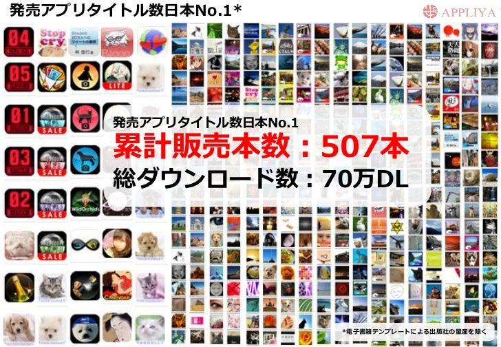 発売ゕプリタトル数日本No.1*       発売ゕプリタトル数日本No.1       累計販売本数:507本       総ダウンロード数:70万DL                          *電子書籍テンプレートによる出版社...