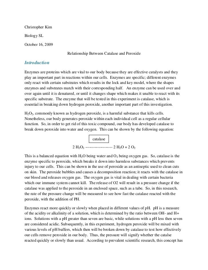 enzyme catalysis lab report