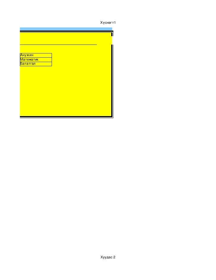 Хүснэгт1мтест         Анужин         Математик         Бататгал                     Хуудас2