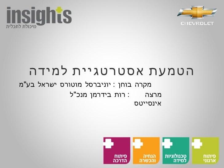 """הטמעת אסטרטגיית למידה מקרה בוחן  :  יוניברסל מוטורס ישראל בע """" מ מרצה  :  רות בידרמן מנכ """" ל אינסייטס"""