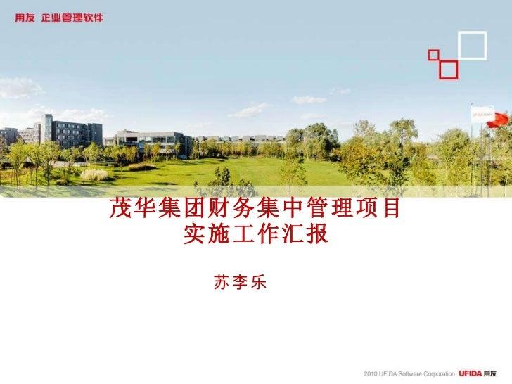 茂华集团财务集中管理项目 实施工作汇报 苏李乐