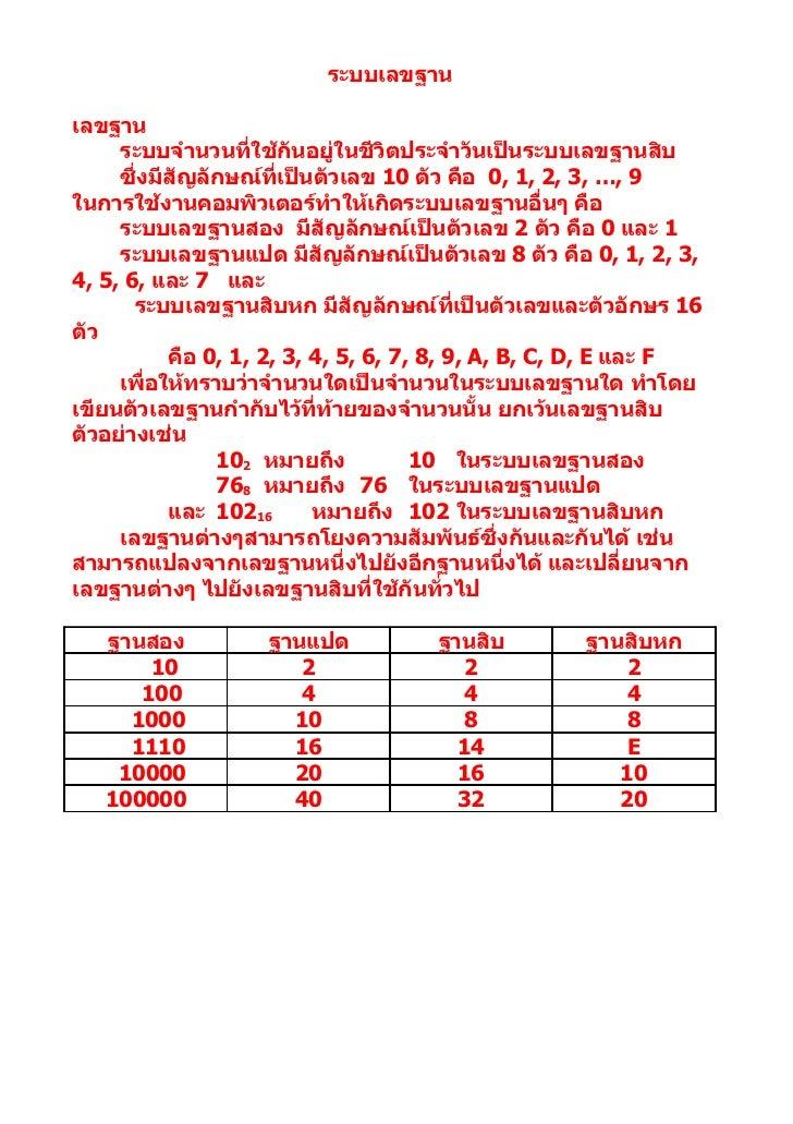 ระบบเลขฐานเลขฐาน     ระบบจำานวนที่ใช้กันอยู่ในชีวิตประจำาวันเป็นระบบเลขฐานสิบ     ซึ่งมีสัญลักษณ์ที่เป็นตัวเลข 10 ตัว คือ ...