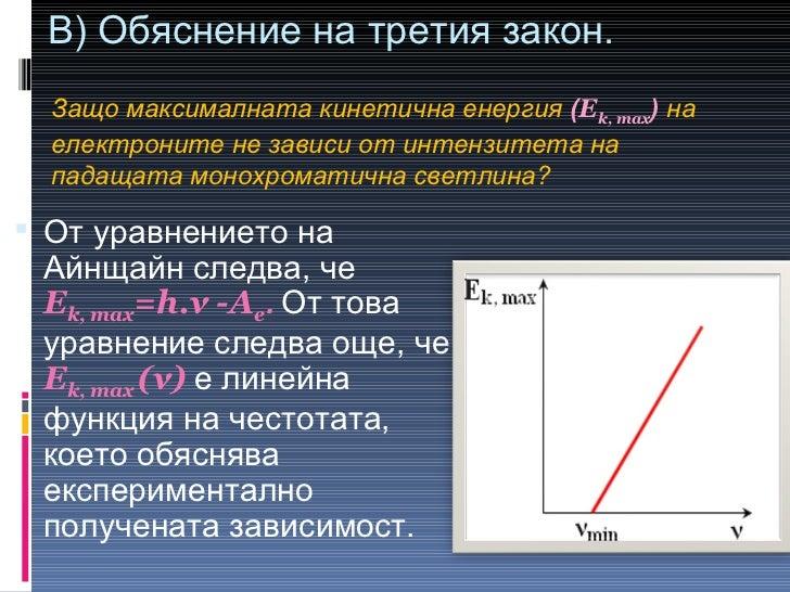 В) Обяснение на третия закон.  <ul><li>От уравнението на Айнщайн следва, че  E k, max =h.ν -A e .  От това уравнение следв...