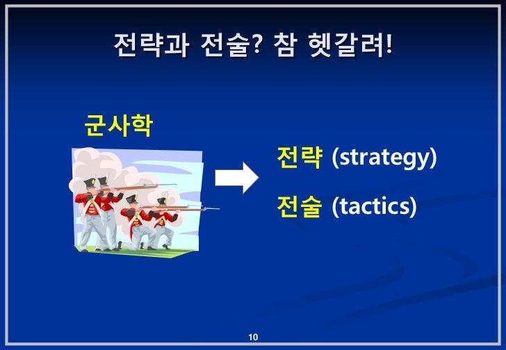 젂략과 젂술? 참 헷갈려!굮사학            젂략 (strategy)            젂술 (tactics)       10