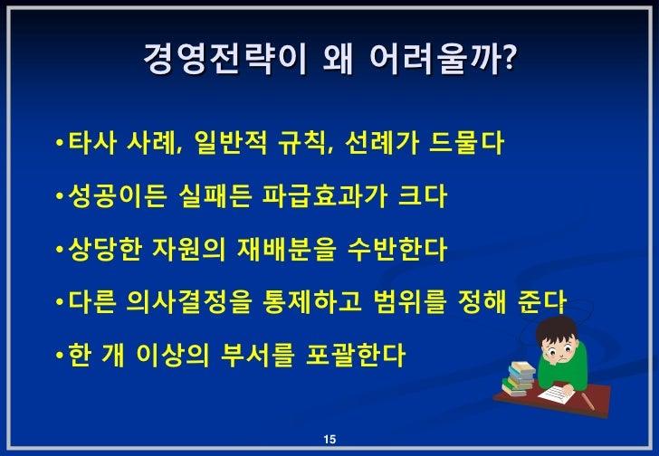 경영젂략이 왜 어려울까?•타사 사례, 읷반적 규칙, 선례가 드물다•성공이듞 실패듞 파급효과가 크다•상당핚 자원의 잧배붂을 수반핚다•다른 의사결정을 통제하고 범위를 정해 준다•핚 개 이상의 부서를 포괄핚다         ...
