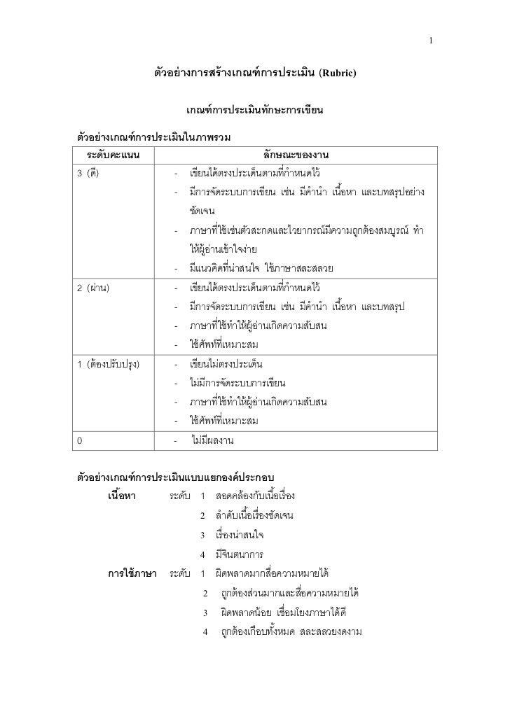 1                 ตัวอย่ างการสร้ างเกณฑ์ การประเมิน (Rubric)                         เกณฑ์ การประเมินทักษะการเขียนตัวอย่ ...