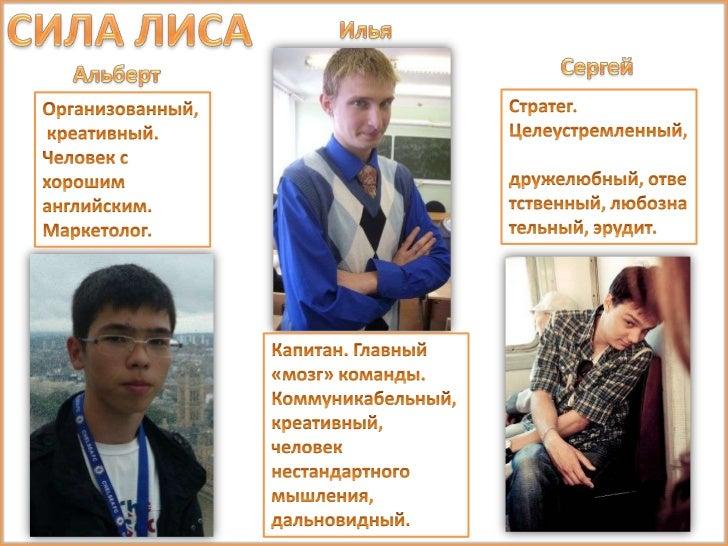 СИЛА ЛИСА<br />Илья<br />Сергей<br />Альберт<br />Стратег.<br />Целеустремленный, дружелюбный, ответственный, любознательн...