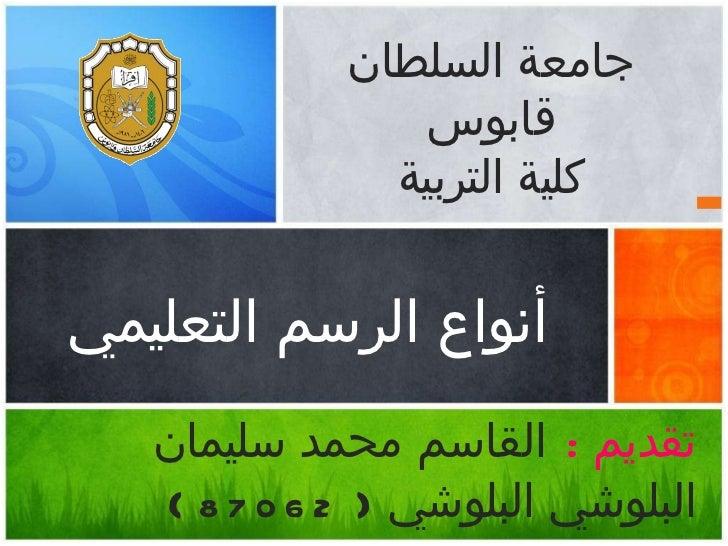 <ul><li>أنواع الرسم التعليمي </li></ul><ul><li>تقديم  :   القاسم محمد سليمان البلوشي البلوشي  (  87062  ) </li></ul><ul><l...