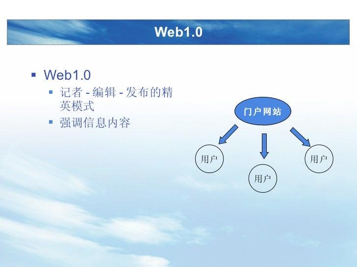 Web1.0 <ul><li>Web1.0 </li></ul><ul><ul><li>记者 - 编辑 - 发布的精英模式 </li></ul></ul><ul><ul><li>强调信息内容 </li></ul></ul>门户网站 用户 用户 用户