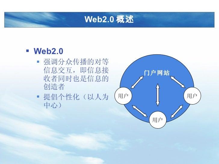 Web2.0 概述 <ul><li>Web2.0 </li></ul><ul><ul><li>强调分众传播的对等信息交互,即信息接收者同时也是信息的创造者 </li></ul></ul><ul><ul><li>提倡个性化(以人为中心) </li...