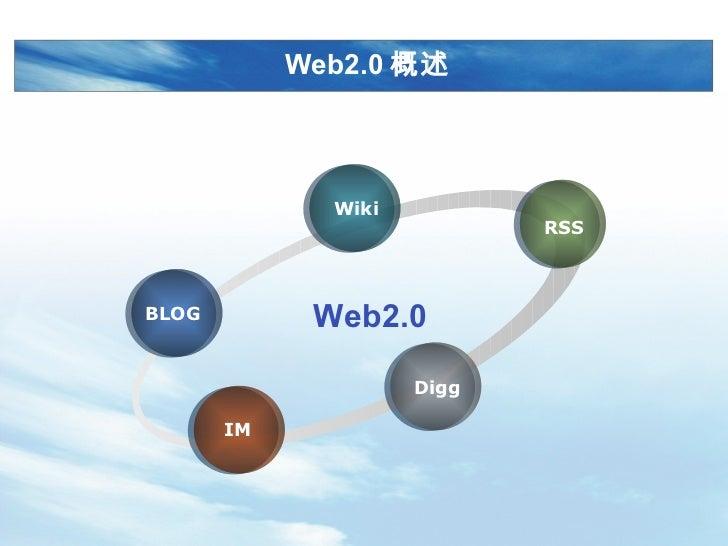 Web2.0 概述 BLOG Wiki RSS Digg IM Web2.0