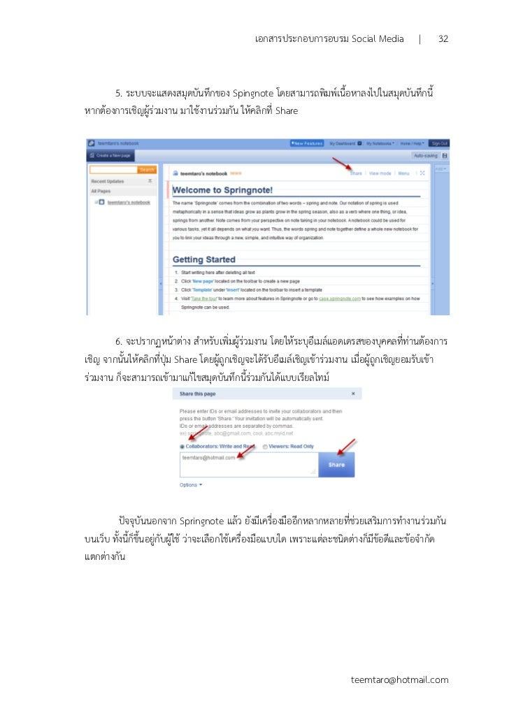 เอกสารประกอบการอบรมเชิงปฏิบัติการ Social Media